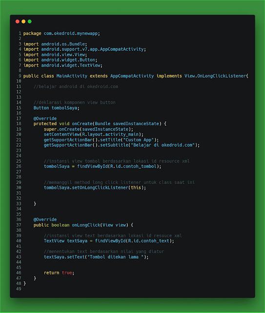 contoh code program button event handling long click press listener aplikasi android-studio