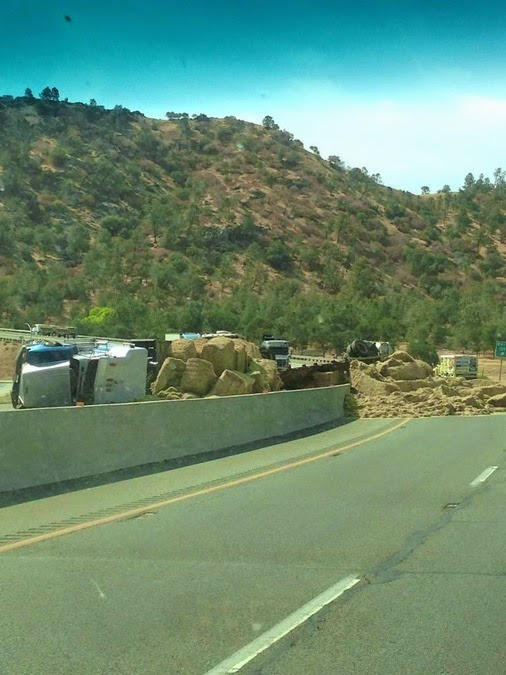 kern county keene highway 58 big rig hay crash