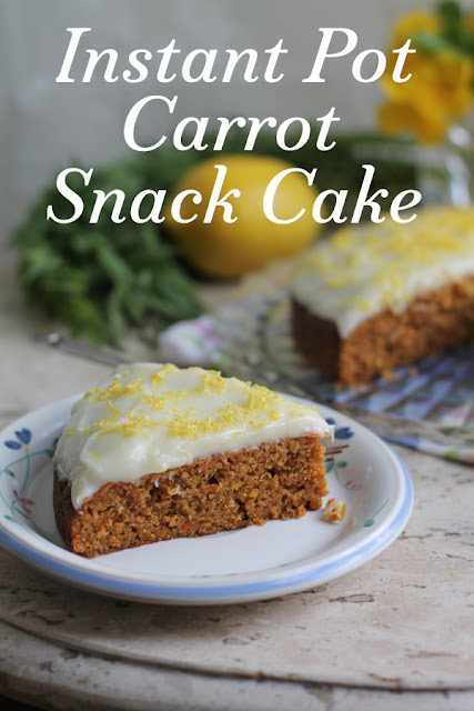 Food Lust People Love: Delightfully rich and full of sweet carrot flavor, this sticky carrot snack cake is baked in an Instant Pot, keeping your kitchen cool during the summer, and then spread with a delightful cream cheese frosting.