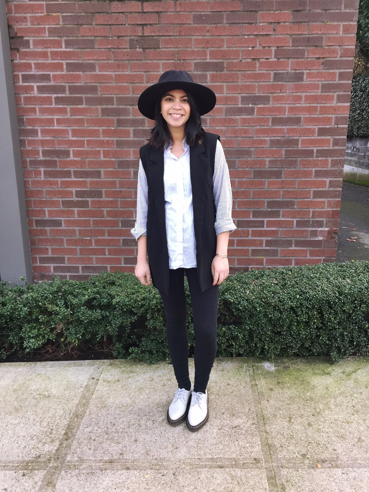 black blazer vest, wide brim hat, maternity jeans, striped button up shirt, bump style, maternity style, look of the day, what I'm wearing, preggonista, dress the bump, pdx fashion blogger, fashion blogger, affordable style, thirty bucks,