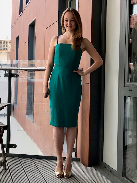 Diary of a Chain Stitcher: Emerald Wool Crepe Green Party Dress using Sew Over It Ultimate Pencil Skirt and Rosie Dress sewing patterns