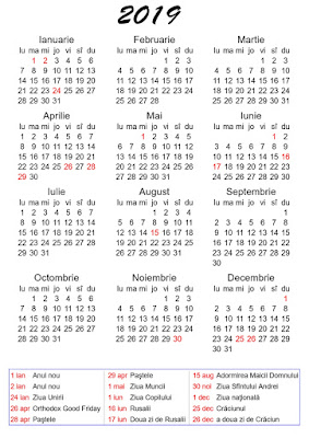 Calendar 2019 de printat