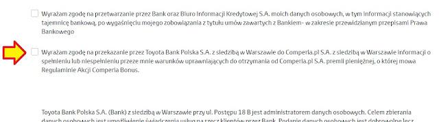 zgoda na oświadczenie comperia bonus 7 toyota bank gdzie wyrazić