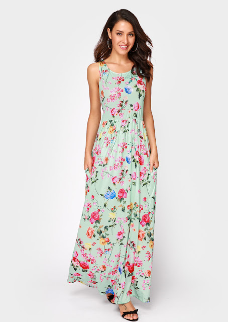 Floral Pocket Sleeveless Casual Maxi Dress