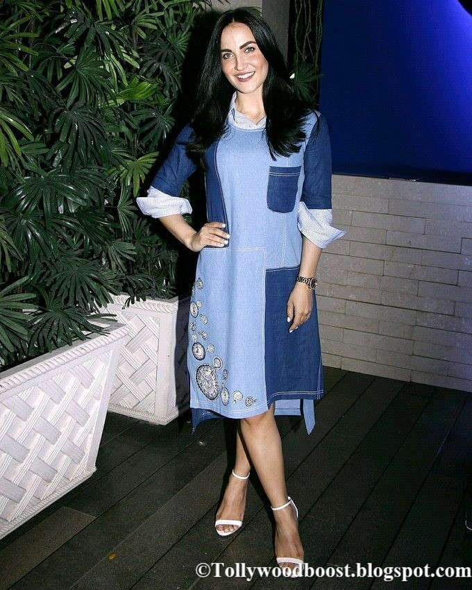 Elli Avram Long Hair In Blue Dress At New Fashion Collection Launch