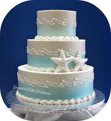 starfish themed wedding cake