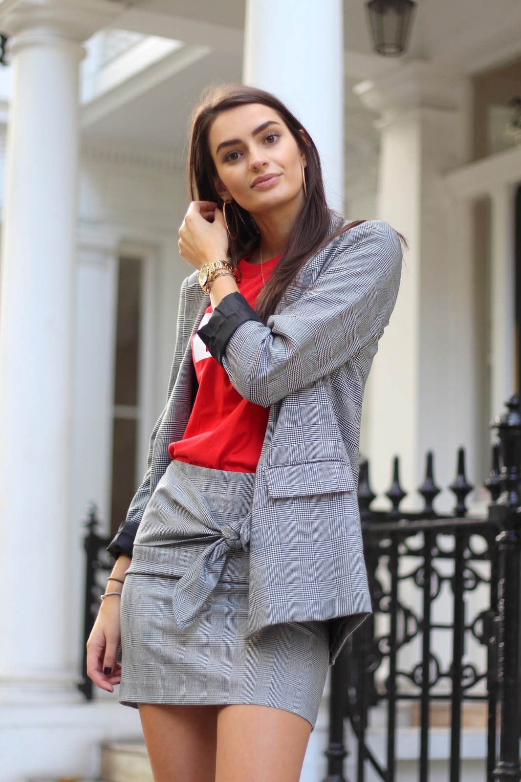 prince of wales check skirt suit peexo
