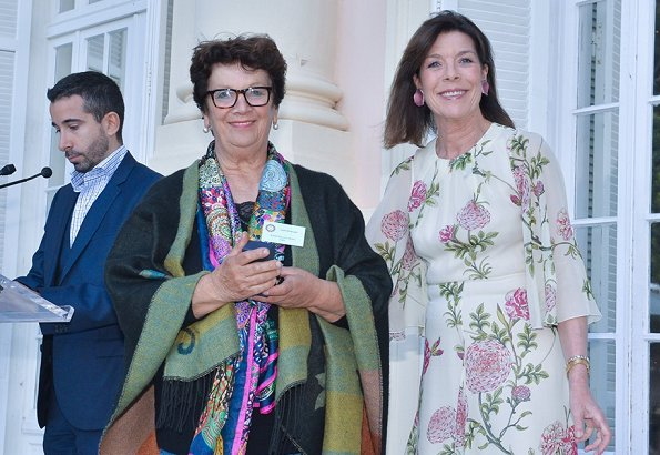 Princess Caroline wore a floral-print silk-chiffon midi dress by Giambattista Valli. Enrico Barla became the winner of Princess Grace Award