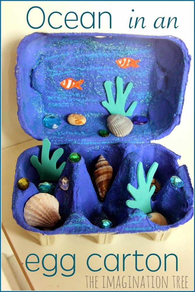 ocean in an egg carton, featured in ocean theme week preschool