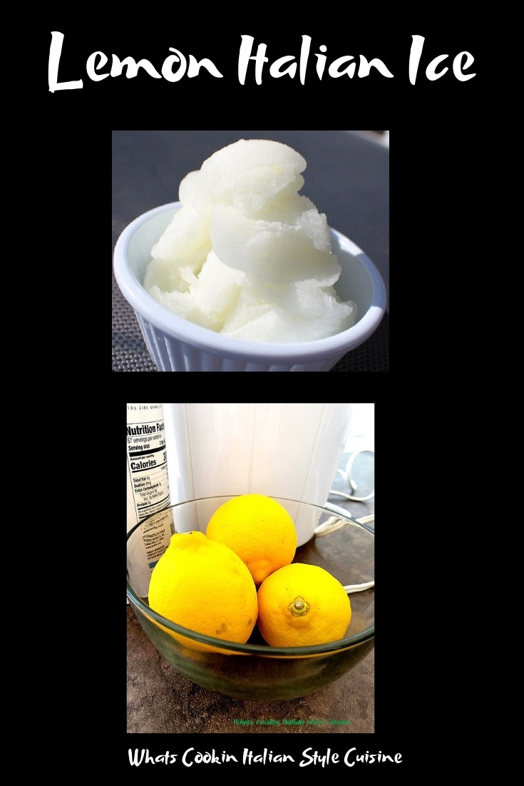 Italian lemon ice is a frozen Italian lemon confection that freezes into a creamy lemon almost sherbet style ice cream. The ice is very popular in Italian. this lemon ice is in a white ice cream dish