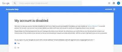akun gmail dinonaktifkan