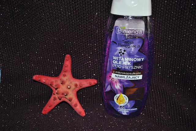nawilzanie fioletowy plastikowa butelka typu klik klik miód frangipi mieniace sie kapsułki