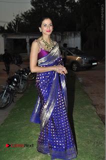 Model Shilpa Reddy Stills in Purple Silk Saree at Gudi Sambaralu 2017 Sri Ramachandra Swami Temple  0060.JPG