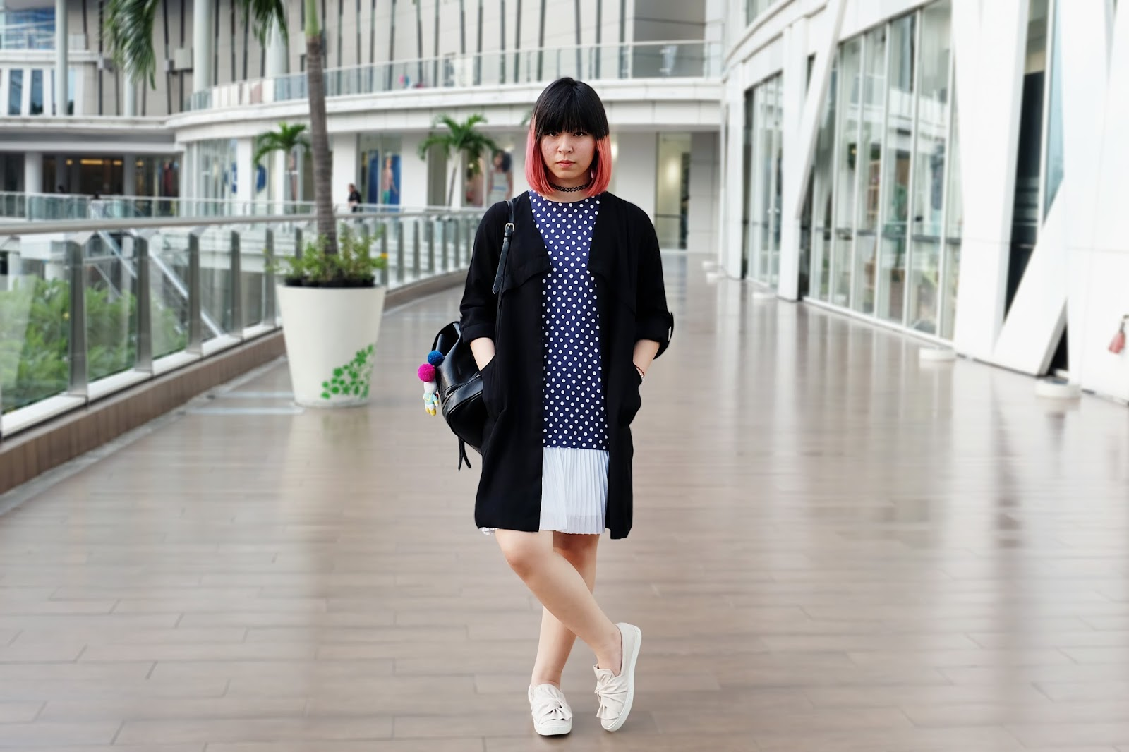 polkadot sleeveless dress with outerwear | bigdreamerblog.com