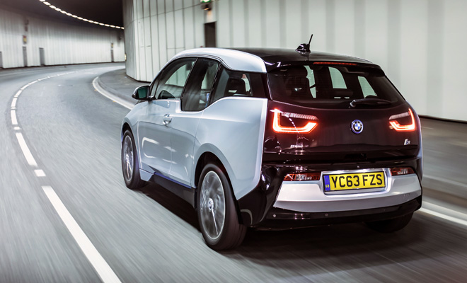 BMW i3 rear view on the move