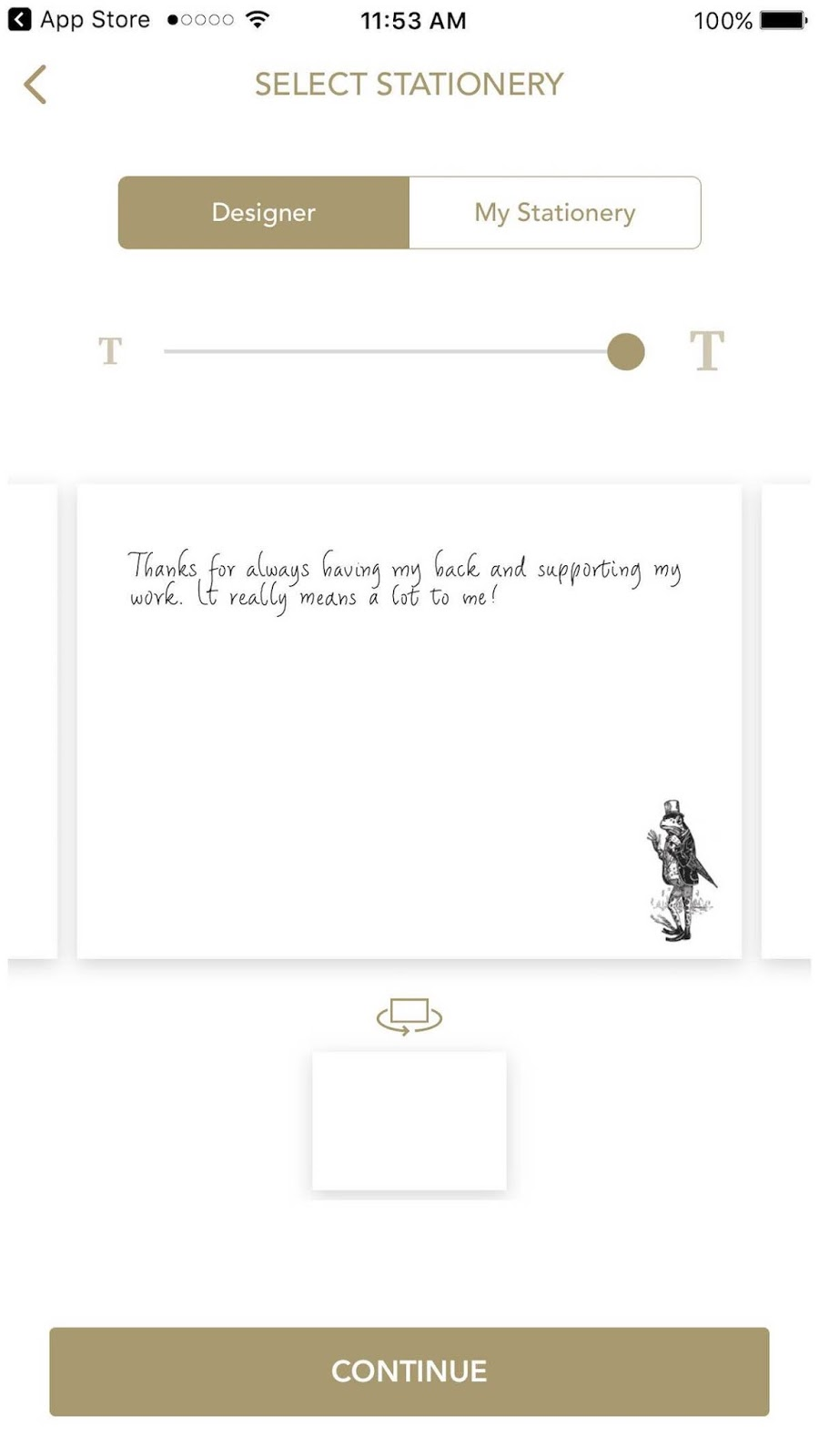 This is a screenshot of the second step to creating your own handwritten note, which includes picking the stationery you want to send the card on.