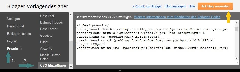 Blogger - Vorlagendesigner - CSS hinzufügen