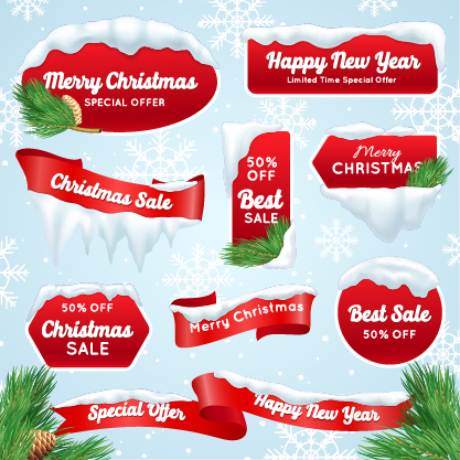 Christmas red sale banner free vector