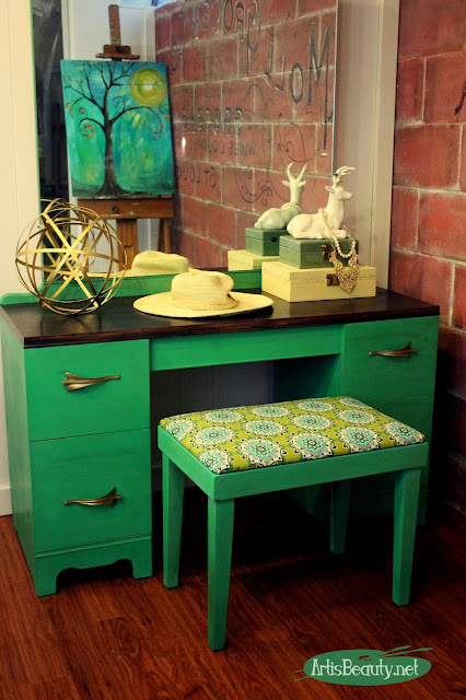 http://www.artisbeauty.net/2016/03/art-deco-vanity-and-bench-custom-green.html