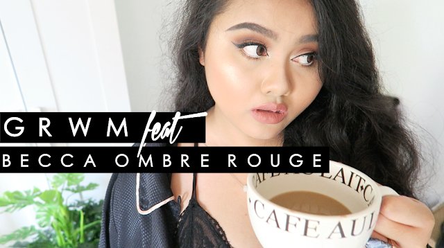 This image shows a get ready with me featuring becca ombre rouge eyeshadow palette