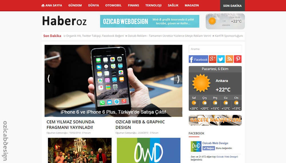 HaberOZ Blogger Haber Teması
