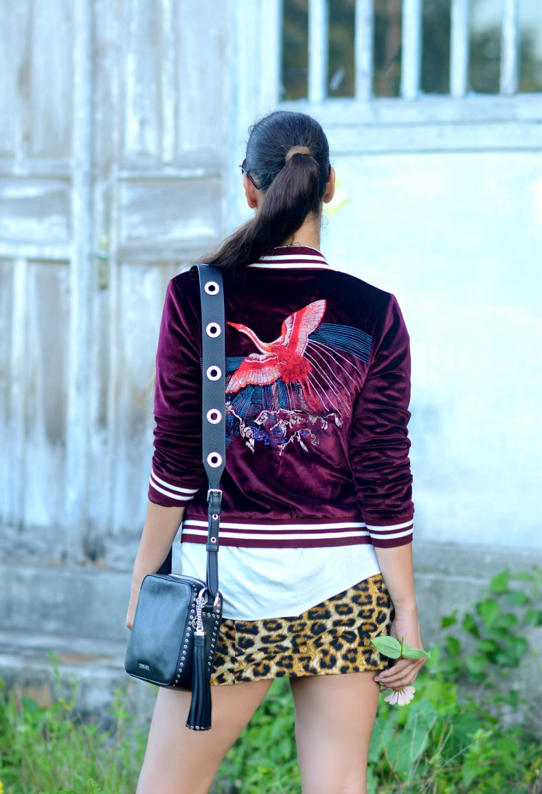 Jacky Luxury, Burgundy velvet bomber, Leopard skirt, Motorhead shirt, Brooklyn Camera bag Michael Kors, HM ballerina espadrilles, Tamara Chloé, TC Style Clues, Namar, Kei Kecil, Indonesia