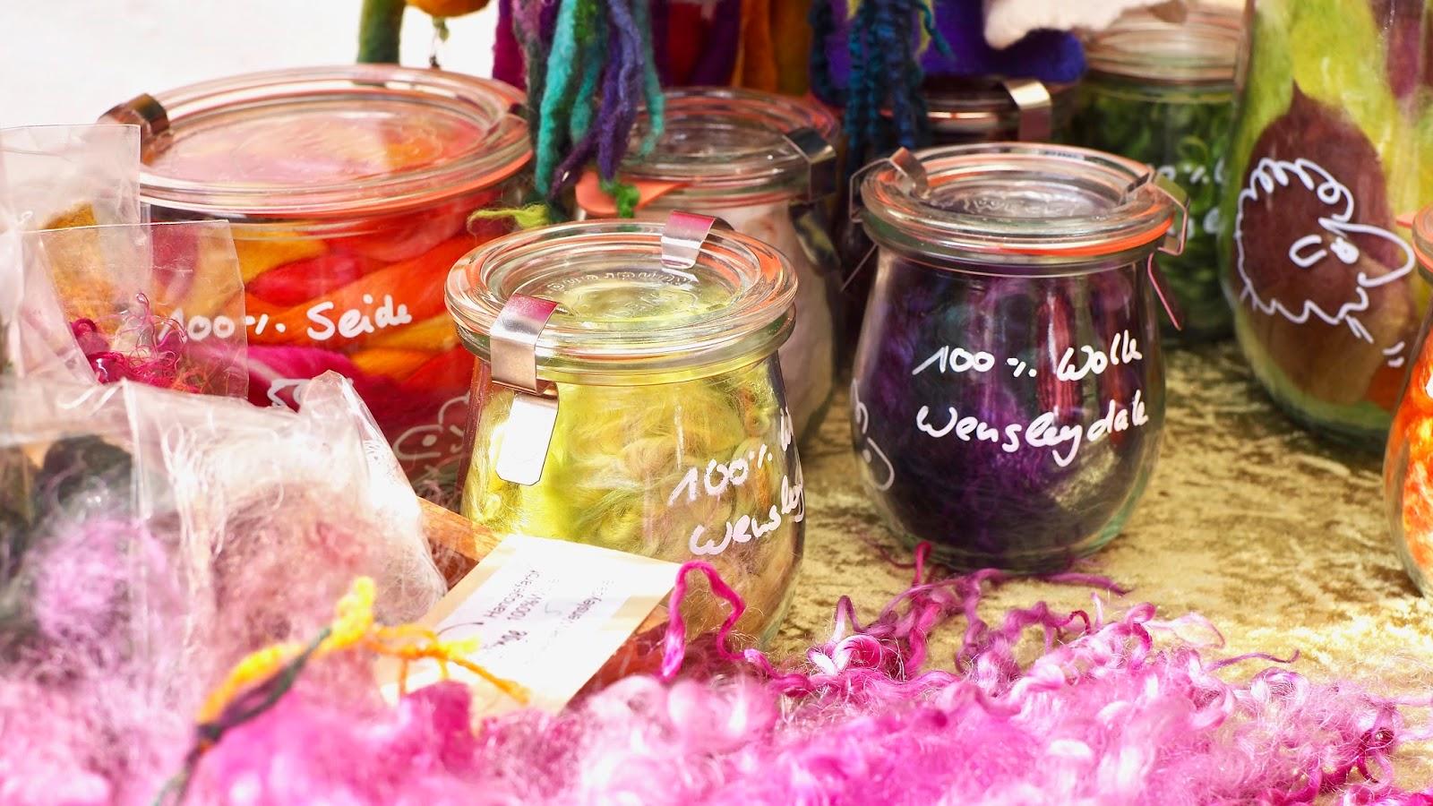 Wensleydale Locken im Einmachglas bei Filzlinge