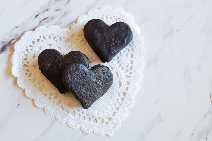 Heart-Shaped Chocolate Hazelnut Sandwich Cookies ♥