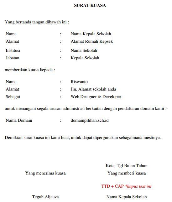 Contoh Surat Kuasa Administrasi Penambahan Daya Listrik