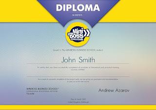 МЕЖДУНАРОДНА ДИПЛОМА от MINIBOSS BUSINESS SCHOOL (Великобритания)