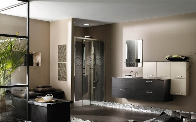 Contemporary bathroom with white stones