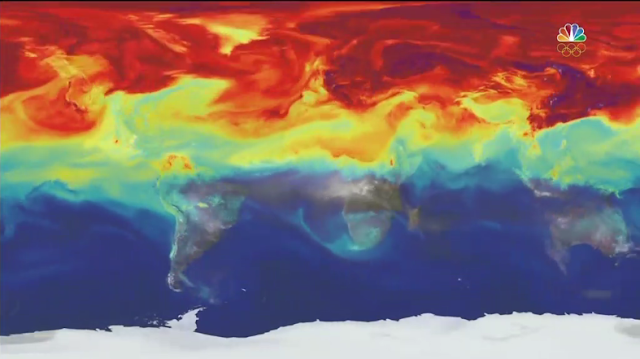 CO2 carbon dioxide emissions Earth map climate change rainbow Rio 2016 Olympics Opening Ceremony