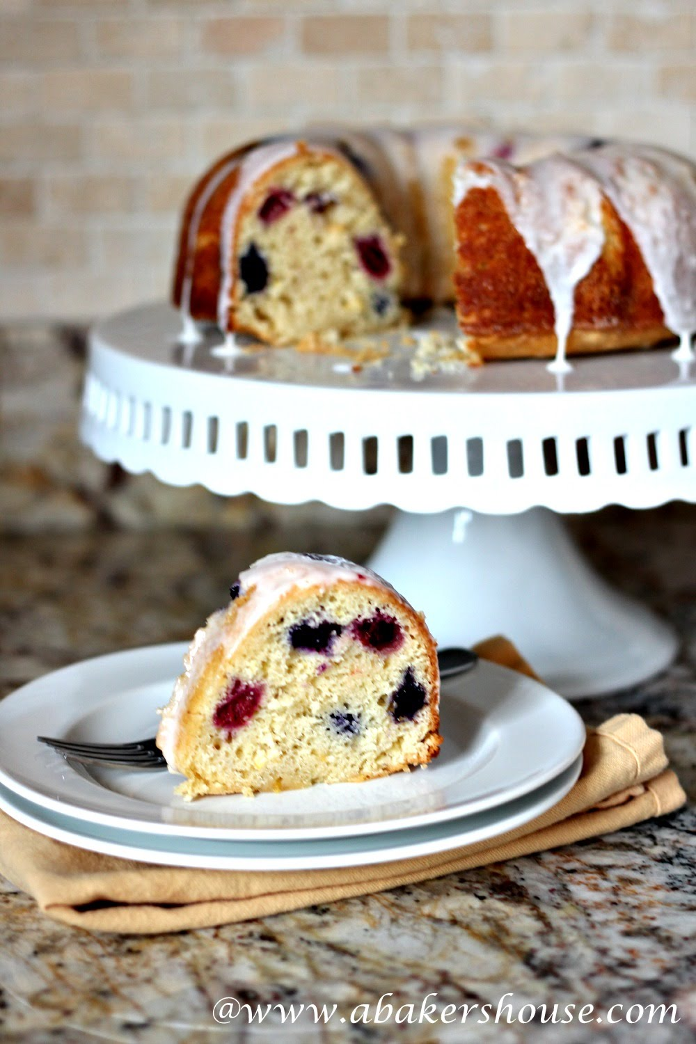 Lemon Berry Bundt from Holly @ www.abakershouse.com