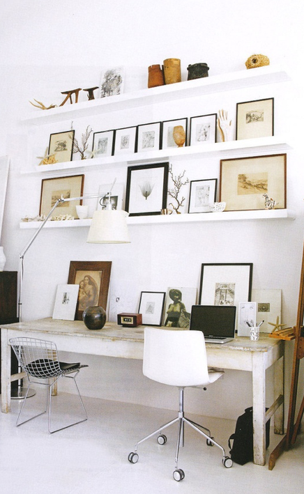 White office space with floating shelves | T A N Y E S H A