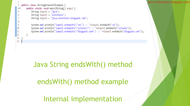 String endsWith​ method in java