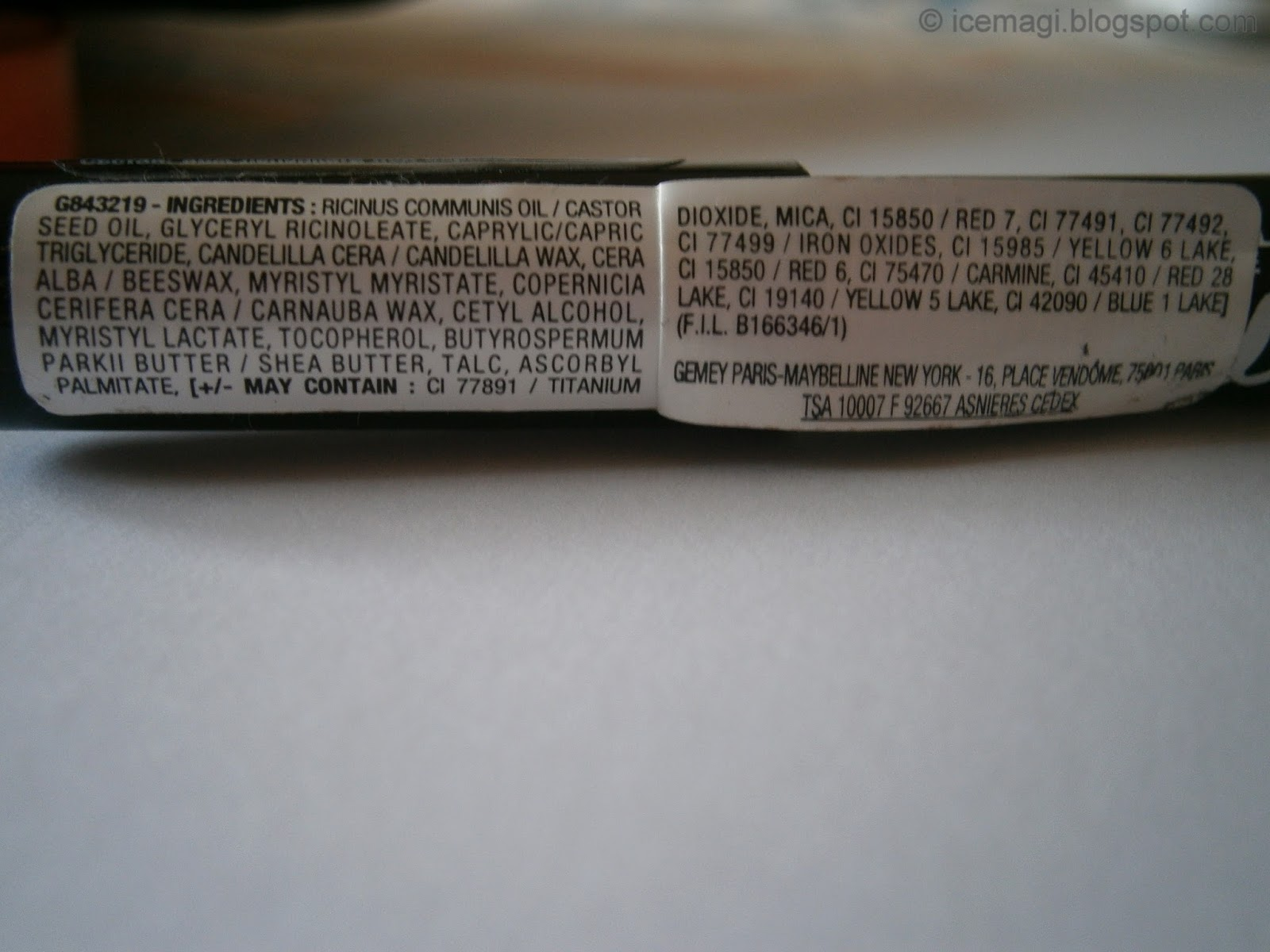 Maybelline Color Drama lip pencil ingredients