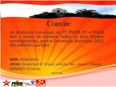 Convenção Municipal do PT, PMDB, PP e PCdoB de Mairi