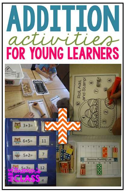 Lots of addition math center activities and ideas for Kindergarten and First Grade!