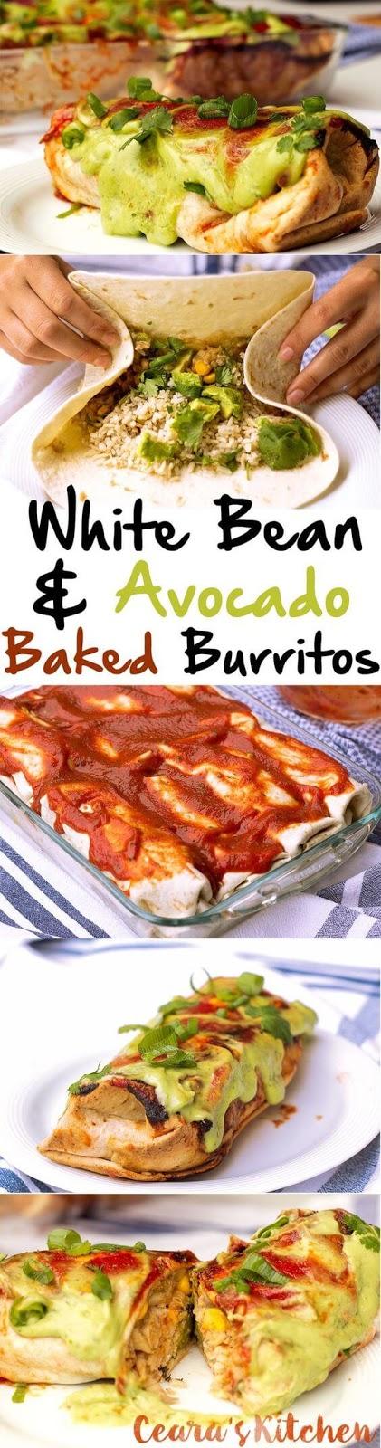 White Bean and Avocado Baked Burritos