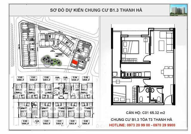 Sơ đồ mặt bằng thiết kế căn C01 tòa T3 chung cư B1.3 Thanh Hà