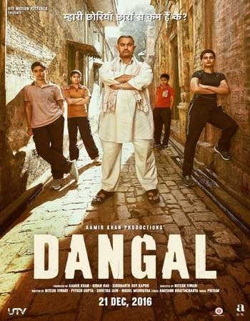 Poster Of Dangal 2016 Hindi 200MB Pre- (Studio Audio) HEVC Mobile  Watch Online Free Download world4ufree.org