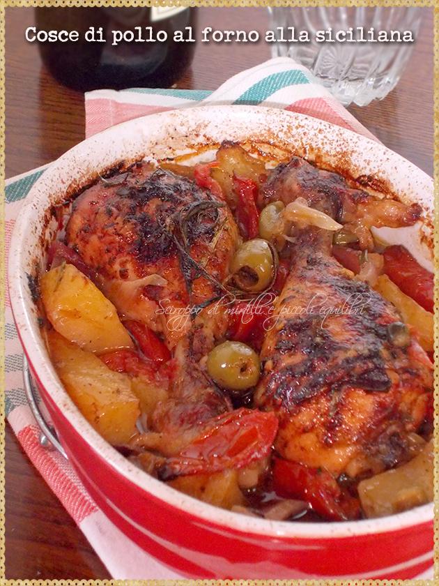 Cosce di pollo al forno alla siciliana