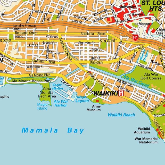 Mapa do centro da cidade de Honolulu - Havaí
