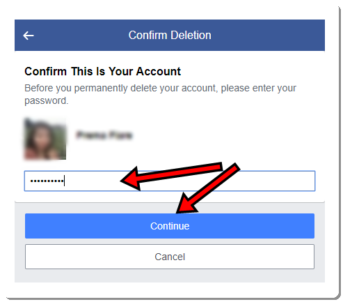 Delete Facebook Account second step with image