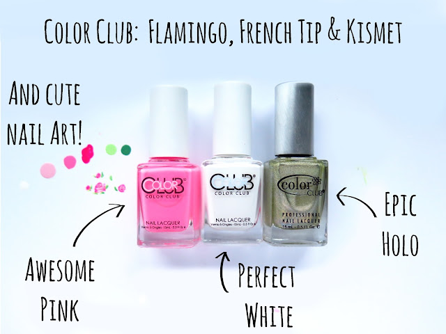 Color Club nailpolishes – perfect white, awesome pink and epic holo. Plus some nail art!