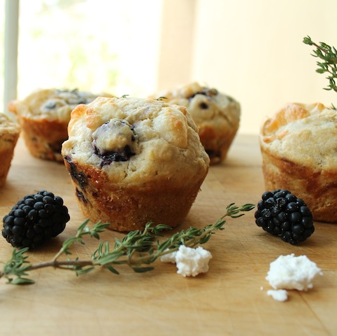 Food Lust People Love: Savory muffins with fresh thyme, goat cheese and blackberries, these thyme chèvre blackberry muffins make a most delicious breakfast or tea time treat. They are also perfect with a glass of wine!