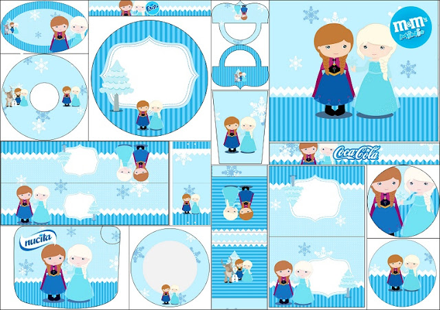 Frozen Baby Blue Christmas Free Printable labels.
