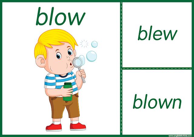 Irregular verb blow - printable ESL flashcards