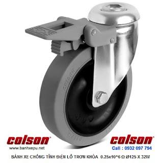 Bánh xe cao su chống tĩnh điện Colson Mỹ lắp lỗ giữa có khóa phi 125 www.banhxepu.net