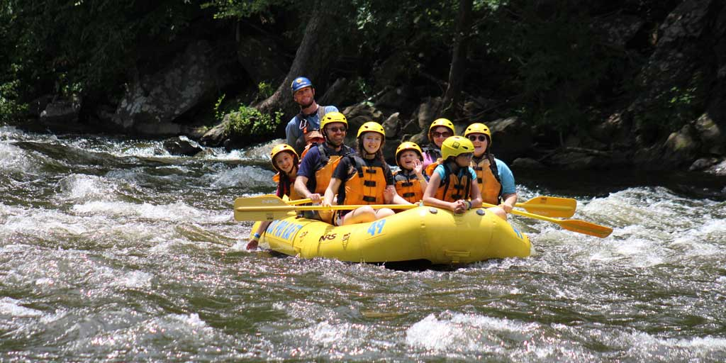 Family at Rafting in The Smokies on Pigeon River in Tennessee